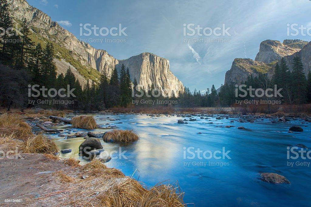 Merced River in Yosemite Valley stock photo