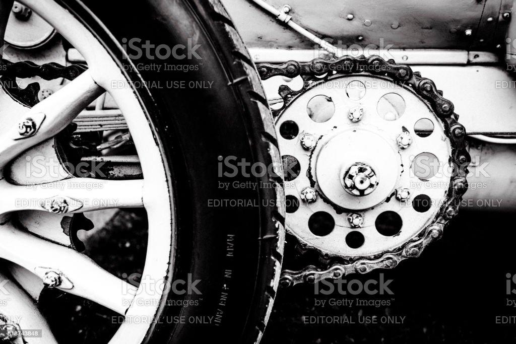 Mercedes 120 HP classic 1906 racing car detail stock photo