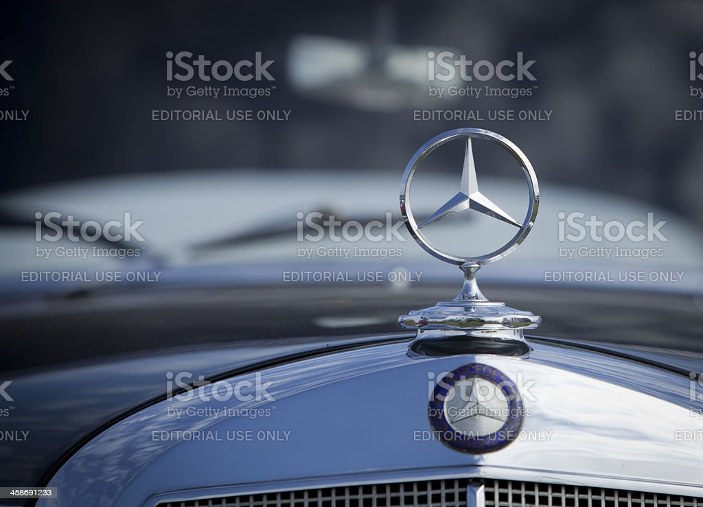Mercedes badge stock photo