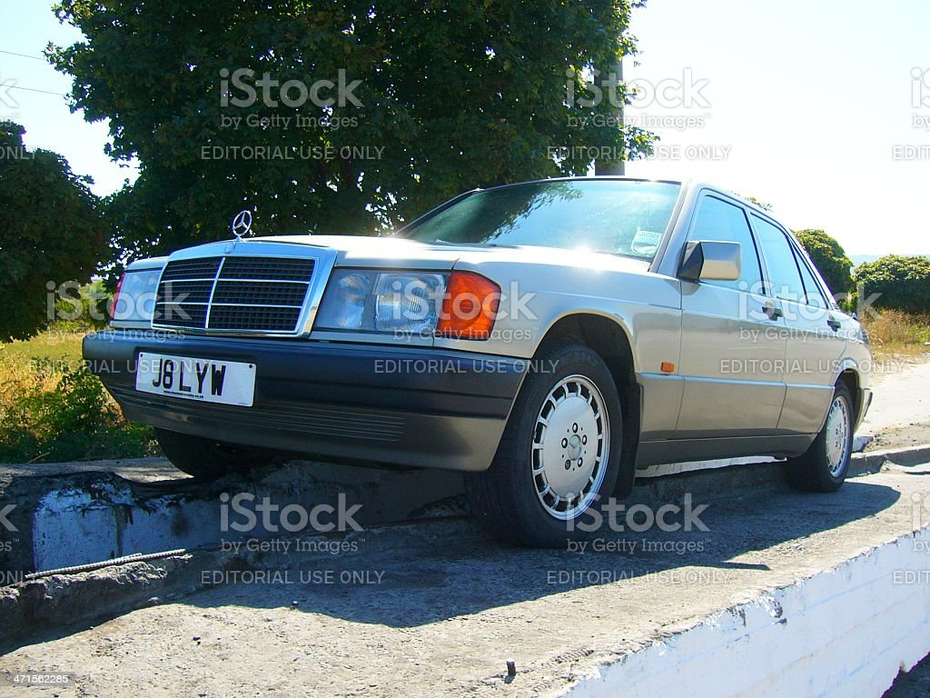 Mercedes Benz 190E car on the overpass royalty-free stock photo