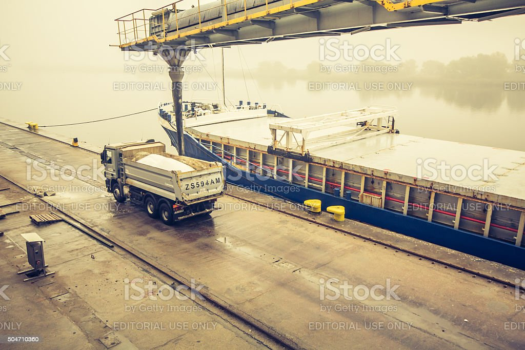 Mercedes - Benz Actros MPIII Dumper Truck at chemical port stock photo