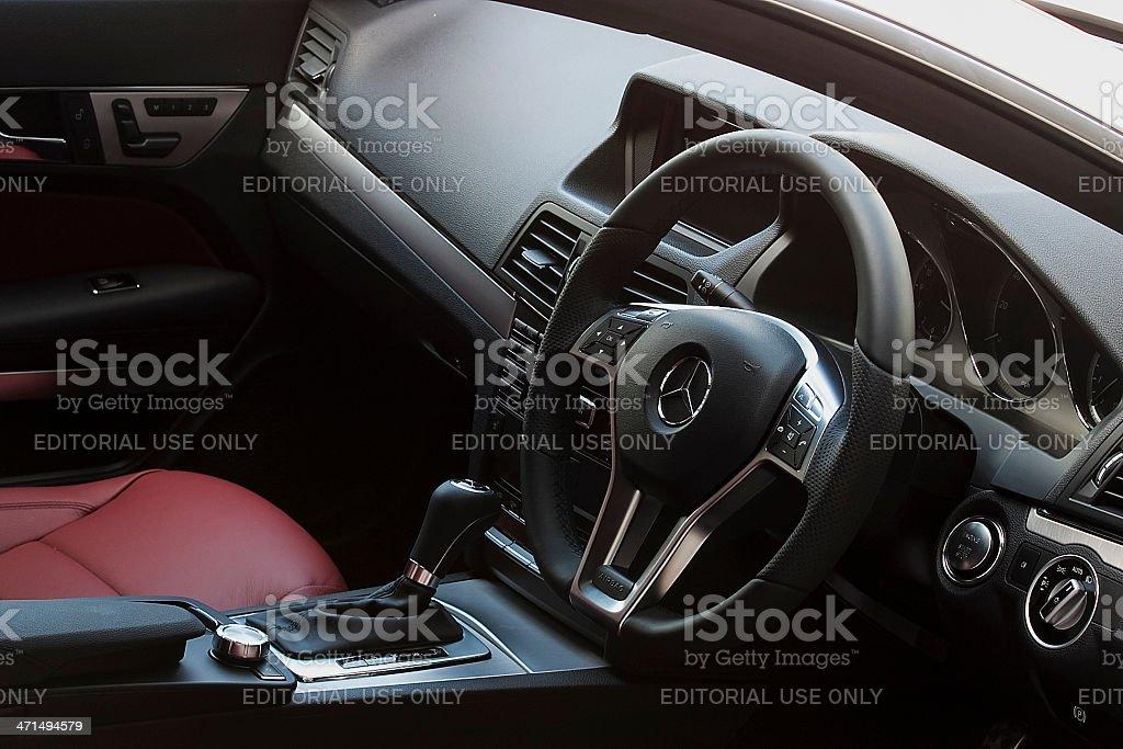 Mercedes Benz E200 interior stock photo