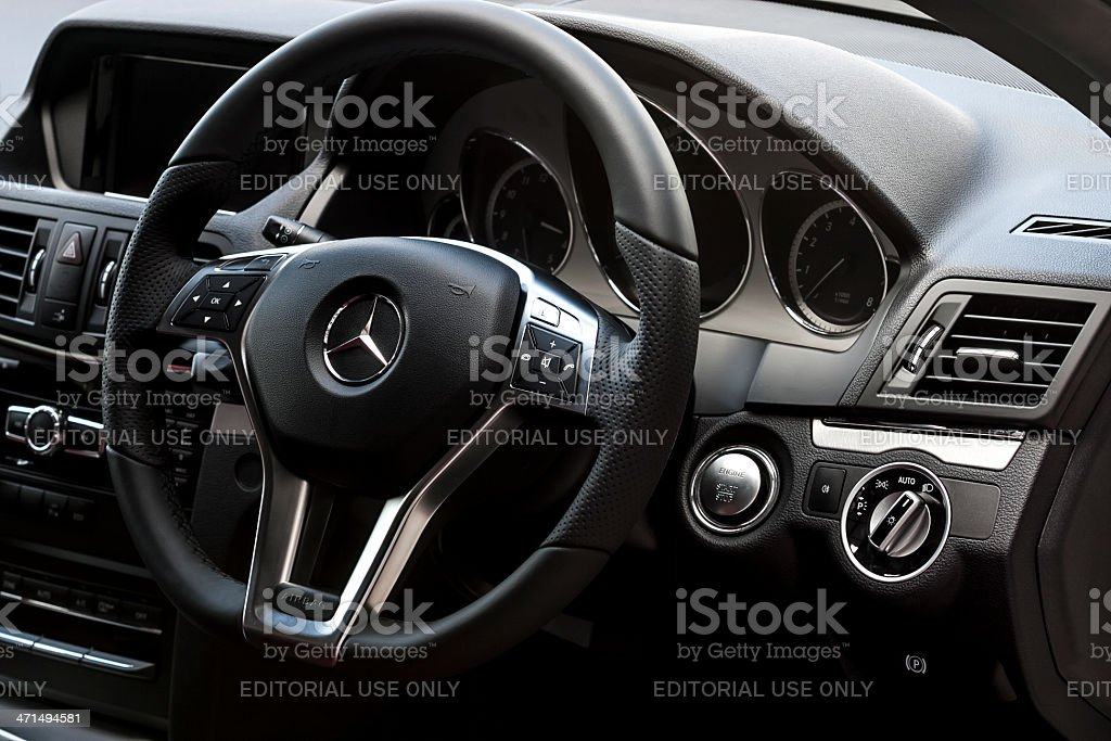 Mercedes Benz E200 interior stock photo