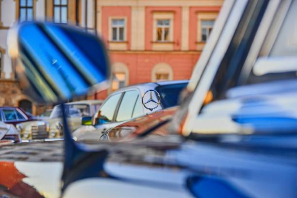 Mercedes Benz logo on vintage car. Mercedes-Benz is a German automobile manufacturer. The brand is used for luxury automobiles, buses, coaches and trucks. stock photo