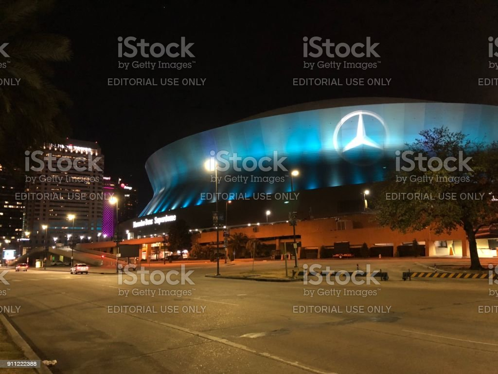 Mercedes Benz Louisiana SuperDome In New Orleans, Louisiana   Photo At  Night Time Royalty