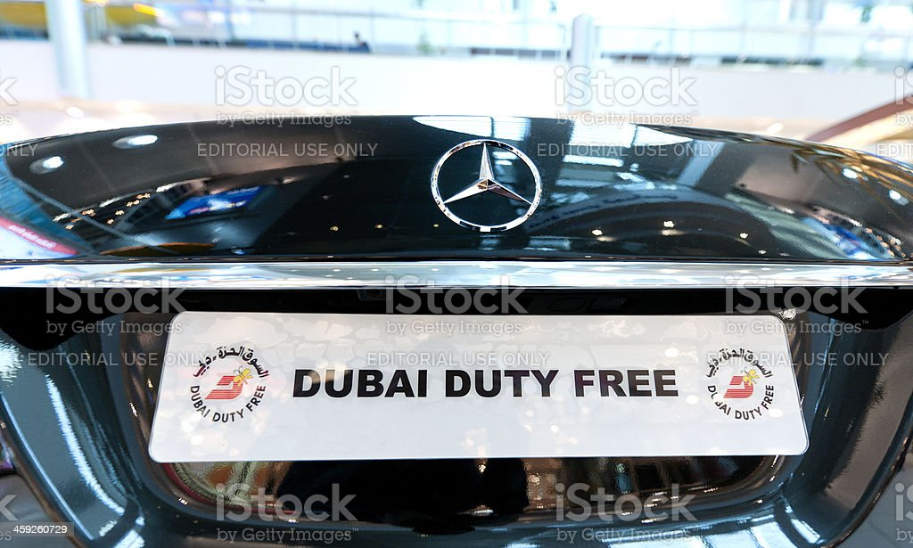 Mercedes Benz on sale at Dubai Duty Free shop royalty-free stock photo