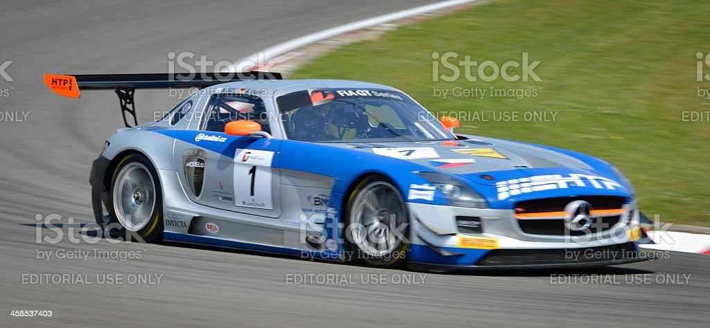 Mercedes Benz SLS AMG GT3 race car at the circuit stock photo