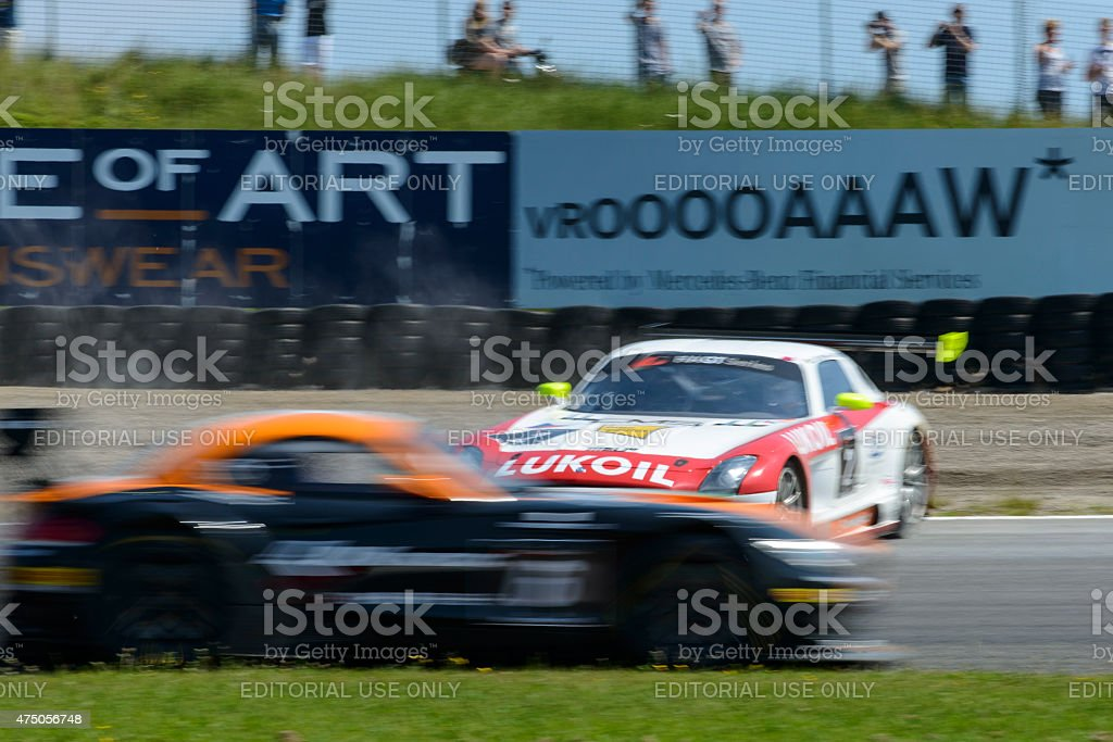 Mercedes Benz SLS AMG GT3 race car crash stock photo