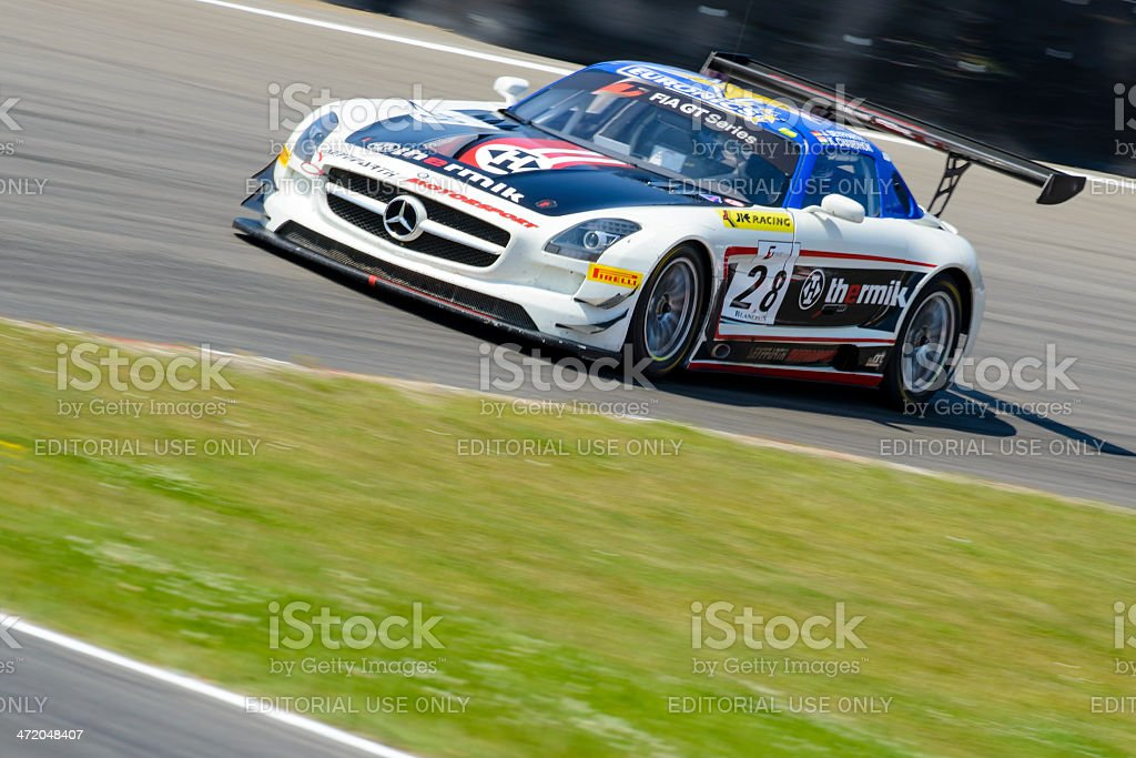 Mercedes Benz SLS AMG race car at the racing track stock photo