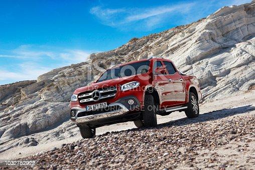 istanbul, Turkey - 24 March, 2018: Mercedes Benz X-Class luxury 4x4 truck vehicle photographed still on the beach rocks.