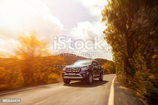 istanbul, Turkey - 25 March, 2018: Mercedes Benz X-Class luxury 4x4 truck vehicle photographed moving on a country road.