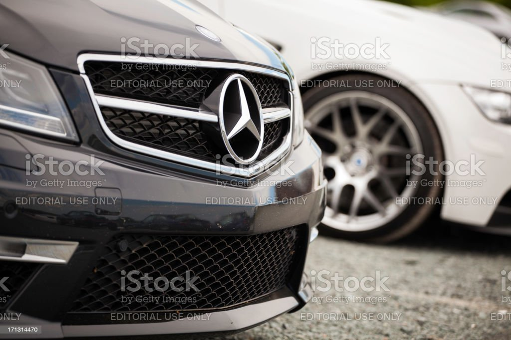 Mercedes C63 AMG and BMW M3 stock photo