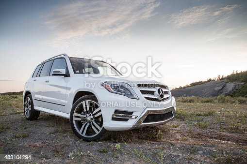 Dartmouth, Nova Scotia, Canada - August 1, 2015: Mercedes GLK250 parked on a dirt surface.  The Mercedes GLK250 BlueTEC turbodiesel is a luxury crossover that is rated at 200-hp, with 369 lb-ft of torque. The first GLK series vehicle went on sale for the 2008 model year and continued to the 2015 model year.