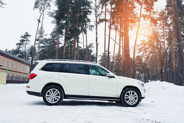 Mercedes parked in forest at winter evening. stock photo
