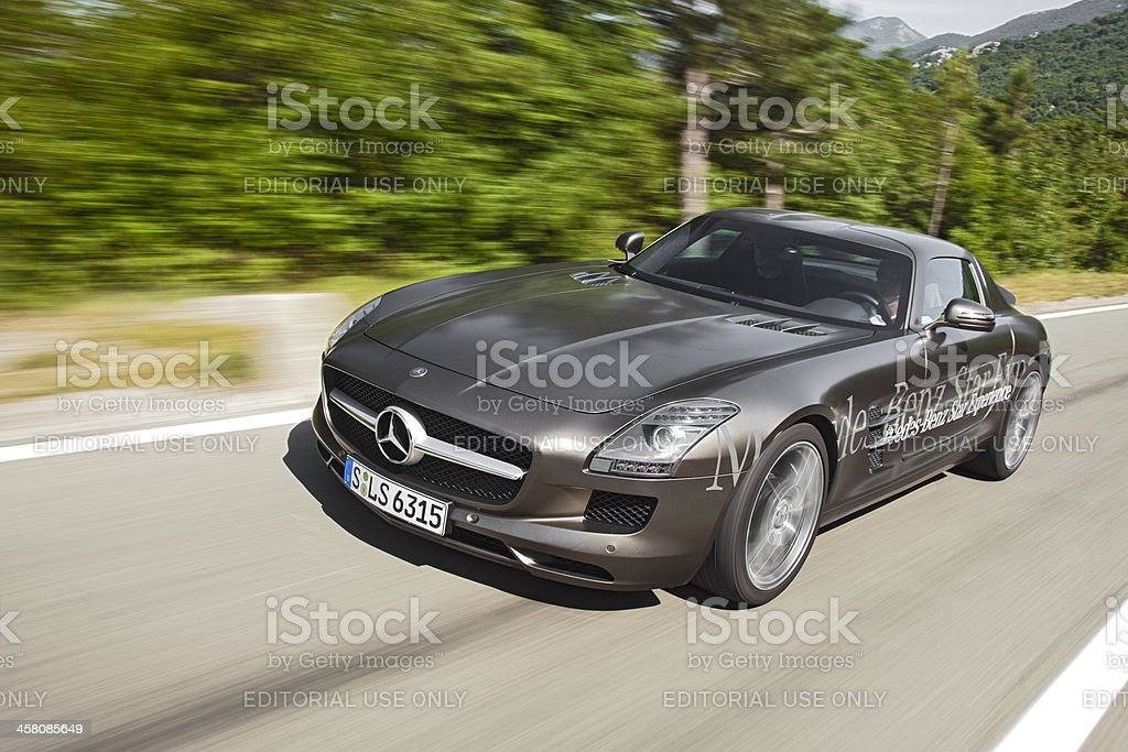 Mercedes SLS AMG drive stock photo