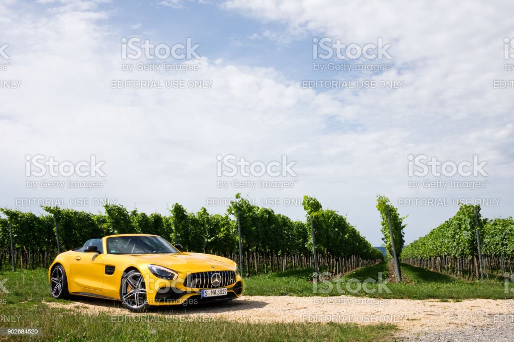 Mercedes-AMG GT C Roaster 2017 Test Drive Day Hong Kong, China July 9, 2017 : Mercedes-AMG GT C Roaster 2017 Test Drive Day July 9 2017 in Hong Kong. Car Stock Photo