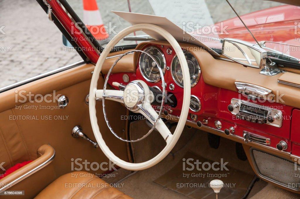 Mercedes-Benz 190 SL, inside view, retro design car. Exhibition of...