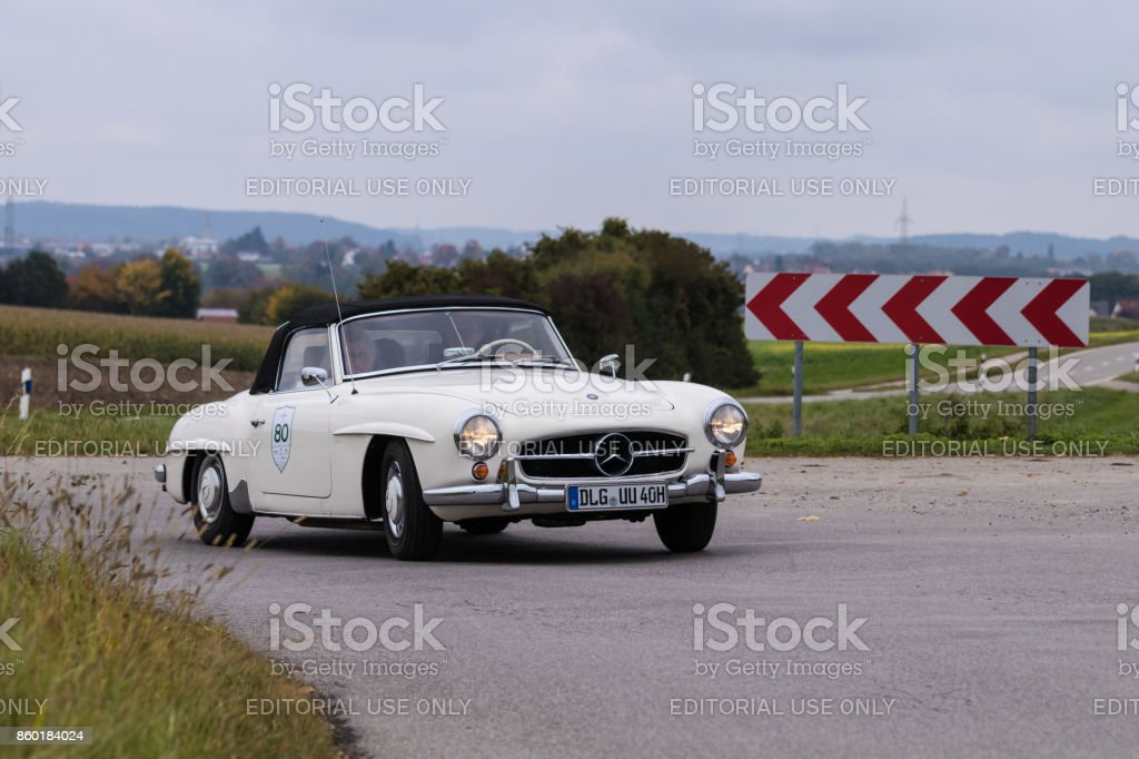 Mercedes-Benz 190 SL oldtimer car at the Fuggerstadt Classic 2017 Oldtimer Rallye stock photo