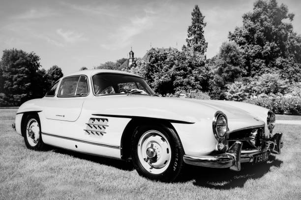Mercedes-Benz 300SL Gullwing classic sports car in black and white