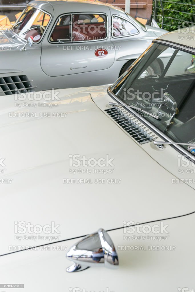 Mercedes-Benz 300SL Gullwing convertible classic sports car stock photo
