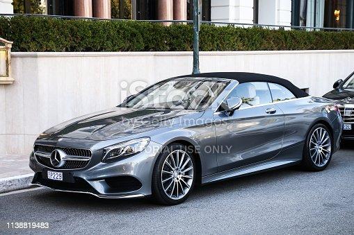 Monte-Carlo, Monaco - March 12, 2019: Convertible motor car Mercedes-Benz A217 S-class in the city street.