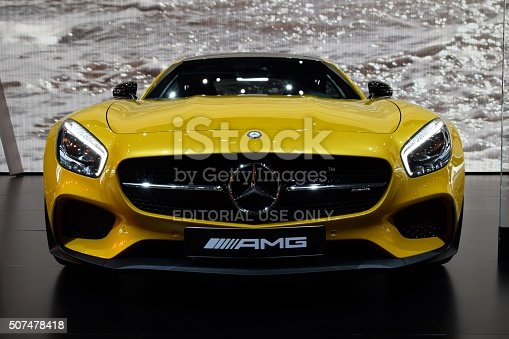Paris, France – October 3rd, 2014: Presentation of Mercedes-Benz AMG GT S on the Paris Motor Show in France. The AMG GT is available with 4,0-litre V8 petrol engine with maximum output of 462 HP (in GT version) or 4,0-litre, V8 engine with maximum output of 510 HP (in GT S version). The AMG GT accelerates from 0 to 60 mph in 4,0 seconds but the AMG GT S accelerates from 0 to 60 mph in 3,8 seconds.