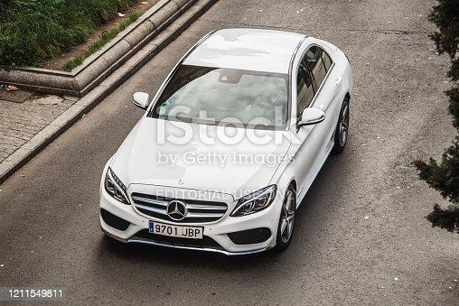 Salamanca, Spain - 15 February 2020: A modern Mercedes-Benz C Class in a street of Salamanca, Spain