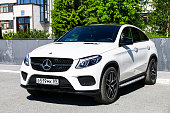 Novyy Urengoy, Russia - June 27, 2018: White motor car Mercedes-Benz C292 GLE350 in the city street.