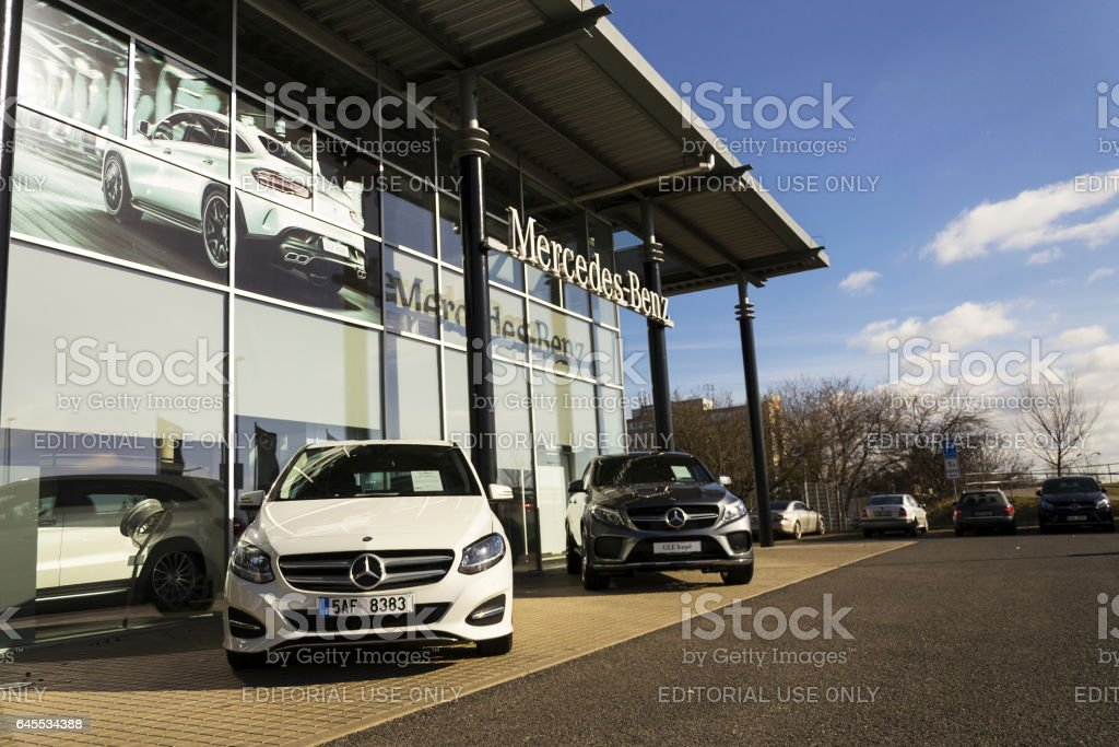Mercedes-Benz car in front of dealership in Prague, Czech republic stock photo