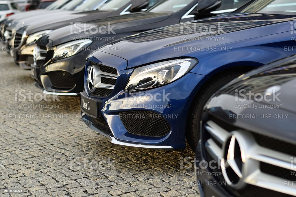 Mercedes-Benz cars in a row stock photo