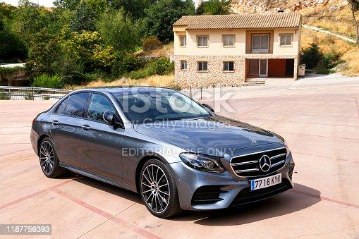 Torija, Spain - September 9, 2019: Grey luxury car Mercedes-Benz E220d (W213) in the city street.