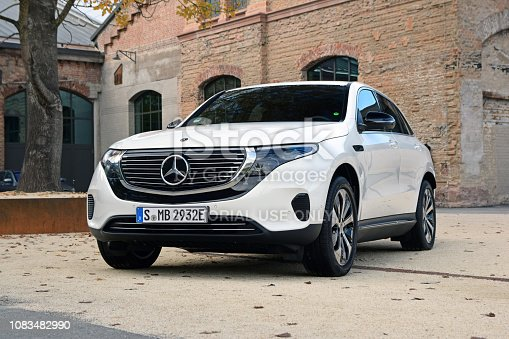 Hamburg, Germany – October 11, 2018: Mercedes-Benz EQC stopped on the public parking. This model is the first electric SUV from Mercedes-Benz.