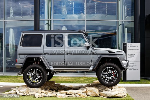 Kazan, Russia - June 11, 2018: Mercedes-Benz G-Class Gelandewagen 4x4 car. The exhibition car stands in front of the Mercedes-Benz car selling and service center
