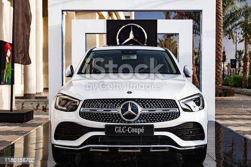 Hurghada, Egypt - October 6, 2019: Closeup of wheel of Mercedes-Benz GLC 300 Coupe near Steigenberger ALDAU Resort
