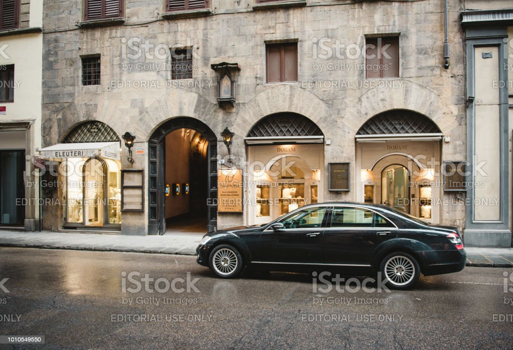 Mercedes-Benz in front of Damiani stock photo