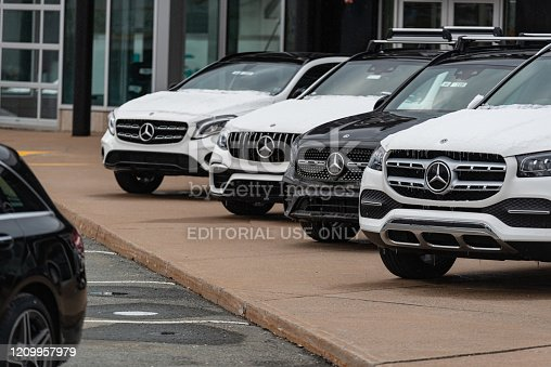 Halifax, Canada - March 1, 2020 - 2020 Mercedes-Benz inventory at a dealership in Halifax's North End.