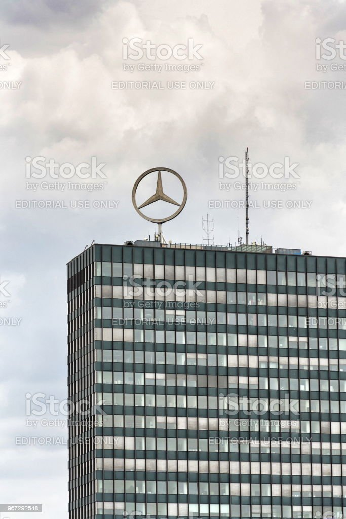 Mercedes-Benz logo on top of headquarters building in Berlin, Germany – zdjęcie