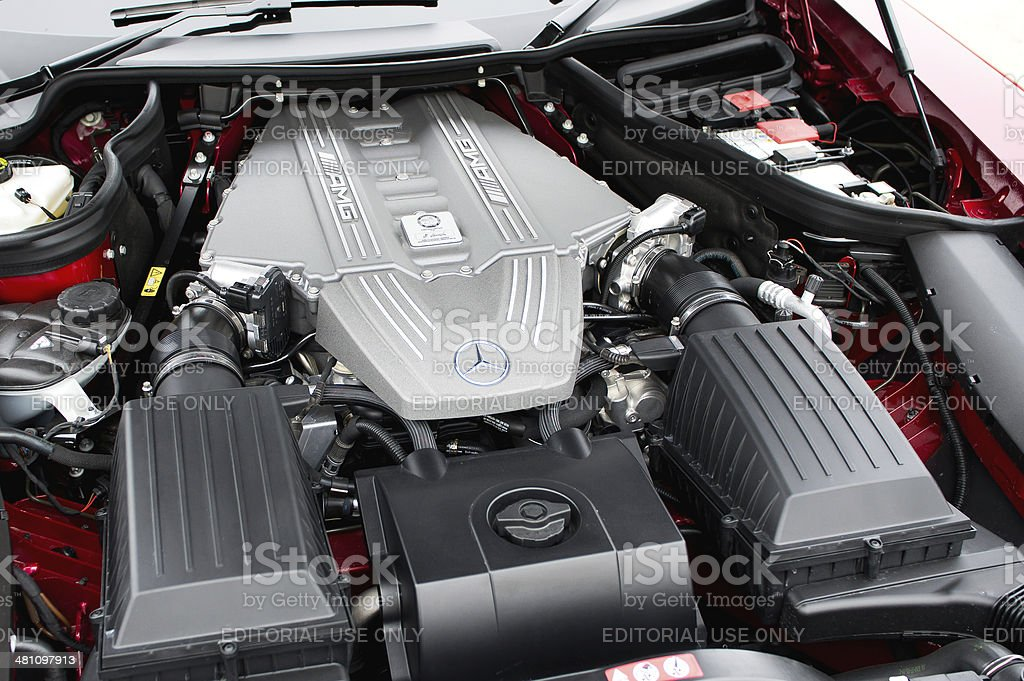 Mercedes-Benz SLS Roadster Engine Bay stock photo