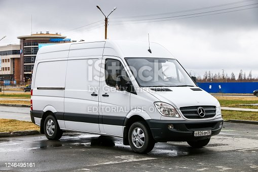 Novyy Urengoy, Russia - May 16, 2020: White cargo van Mercedes-Benz Sprinter (W906) in the city street.