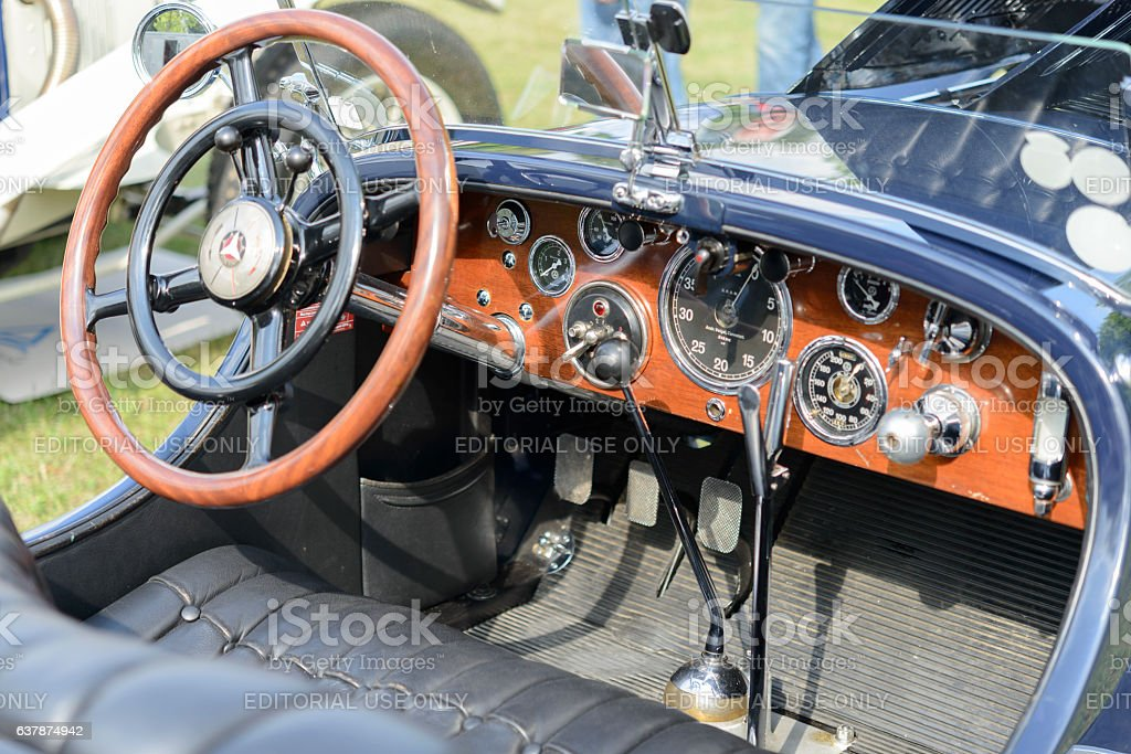 Mercedes Benz SSK Sport Convertible Classic 1920s Car Interior Royalty Free Stock Photo