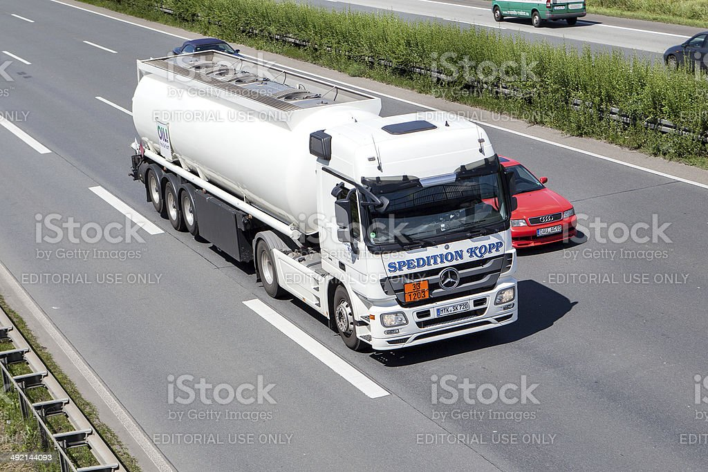 Mercedes-Benz tank truck on German highway royalty-free stock photo