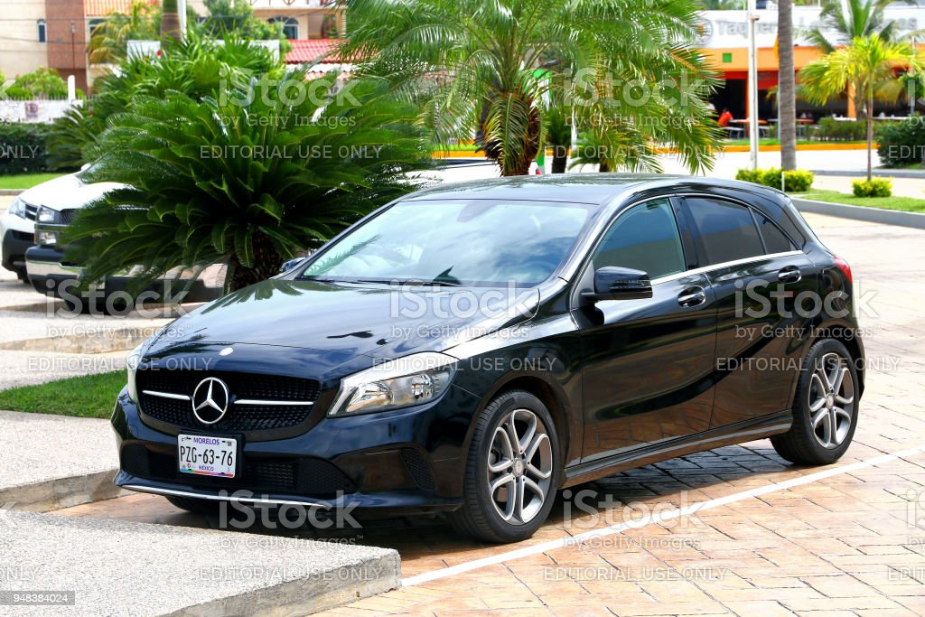 Mercedes-Benz W176 A-class Acapulco, Mexico - May 31, 2017: Motor car Mercedes-Benz W176 A-class in the city street. Advertisement Stock Photo