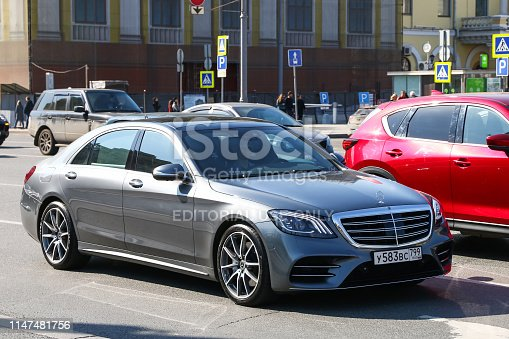 Moscow, Russia - April 19, 2019: Luxury motor car Mercedes-Benz W222 S-class in the city street.