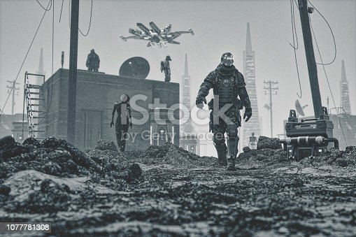 Mercenary cyborg walking in futuristic apocalypse city ruins.