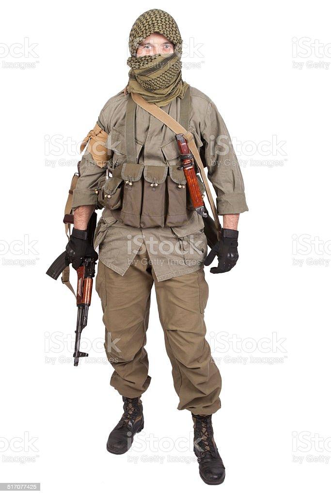 mercenary with AK 47 gun stock photo