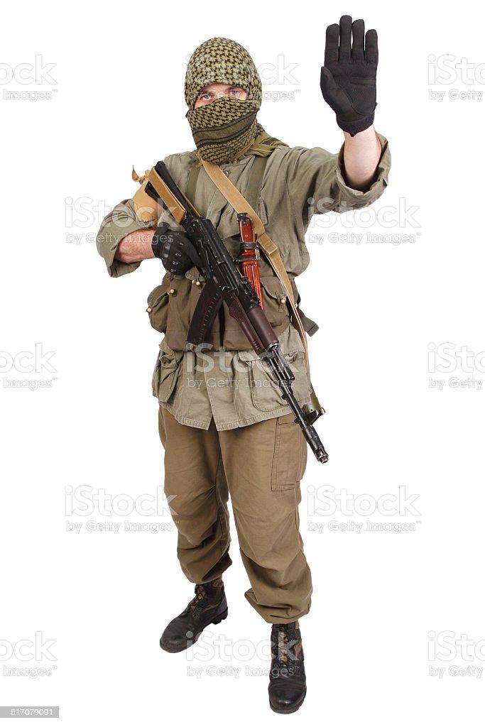 mercenary with AK 47 stock photo
