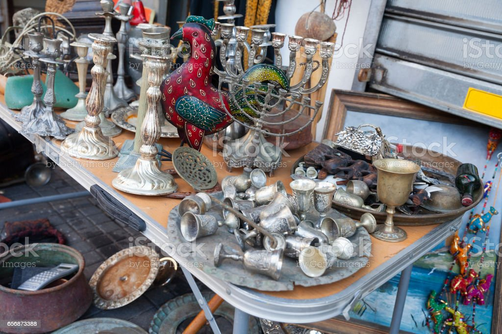 Merchandise for sale at the flea market in Tel Aviv, Jaffa, Israel. stock photo