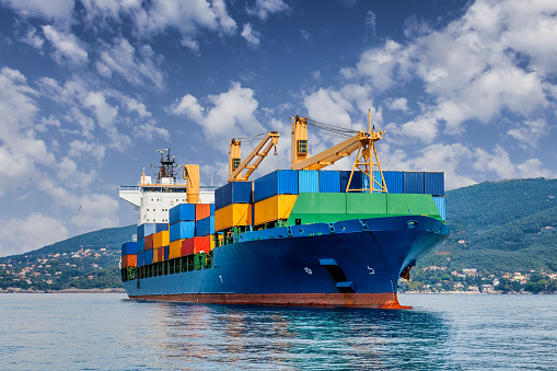 Merchant Container Ship Stock Photo - Download Image Now