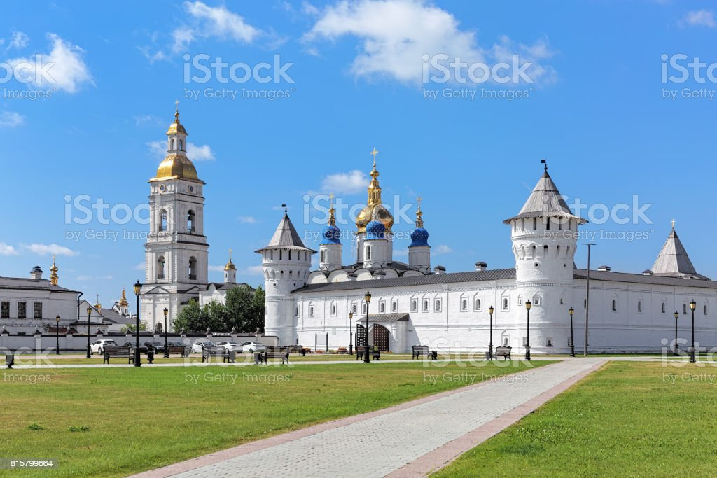 Merchant Court and St. Sophia-Assumption Cathedral in Tobolsk Kremlin, Russia stock photo