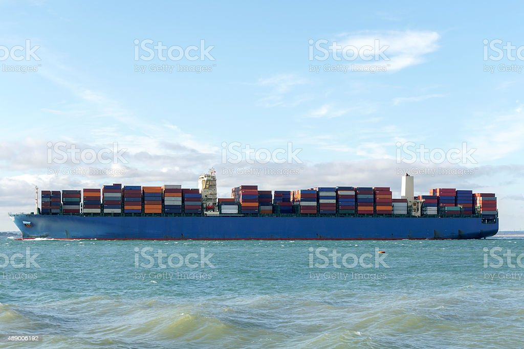 Merchant ship side view stock photo